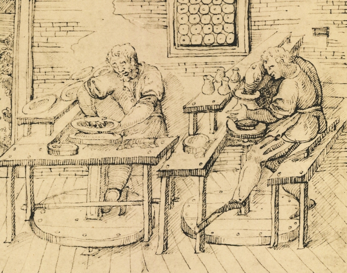 """Ceramists Shaping Wares"" circa 1557, sketch from Cipriano Piccolpasso's ""The Three Books of the Potters' Art."" It shows potters working on the wheel and in the studio, shaping clay."