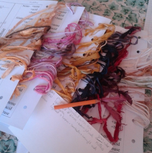 dye sample cards from a weekend workshop at Mistress Willoc's